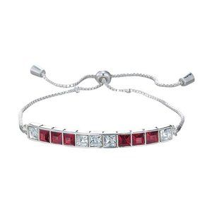 Red Deco Bracelet silvertone adjustable bracelet